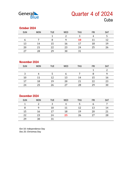 Printable Three Month Calendar for Cuba