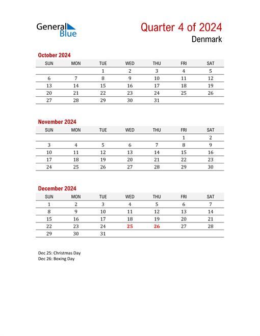Printable Three Month Calendar for Denmark