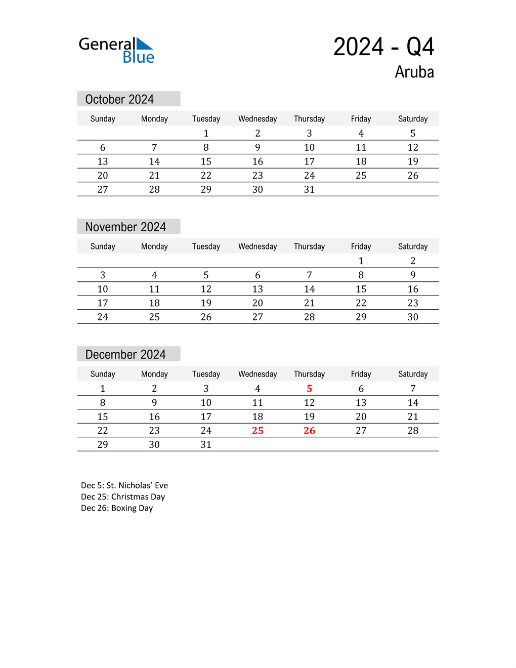 Aruba Quarter 4 2024 Calendar