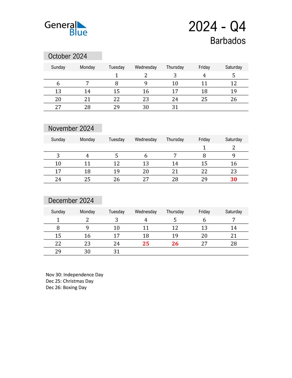 Barbados Quarter 4 2024 Calendar