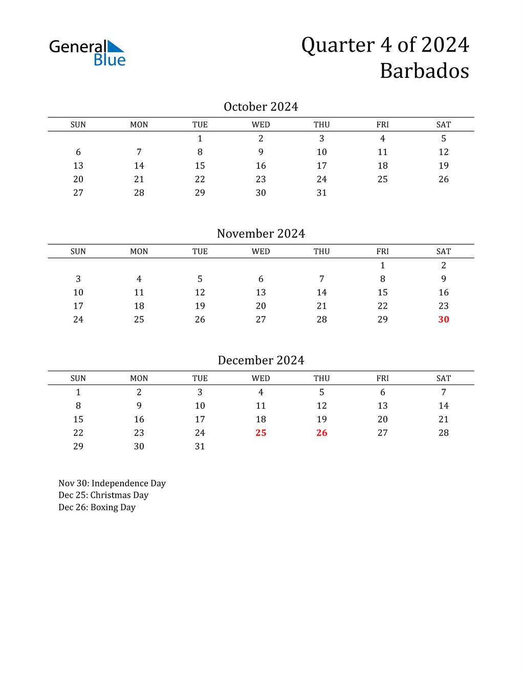 2024 Barbados Quarterly Calendar