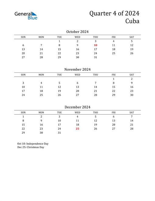 2024 Cuba Quarterly Calendar