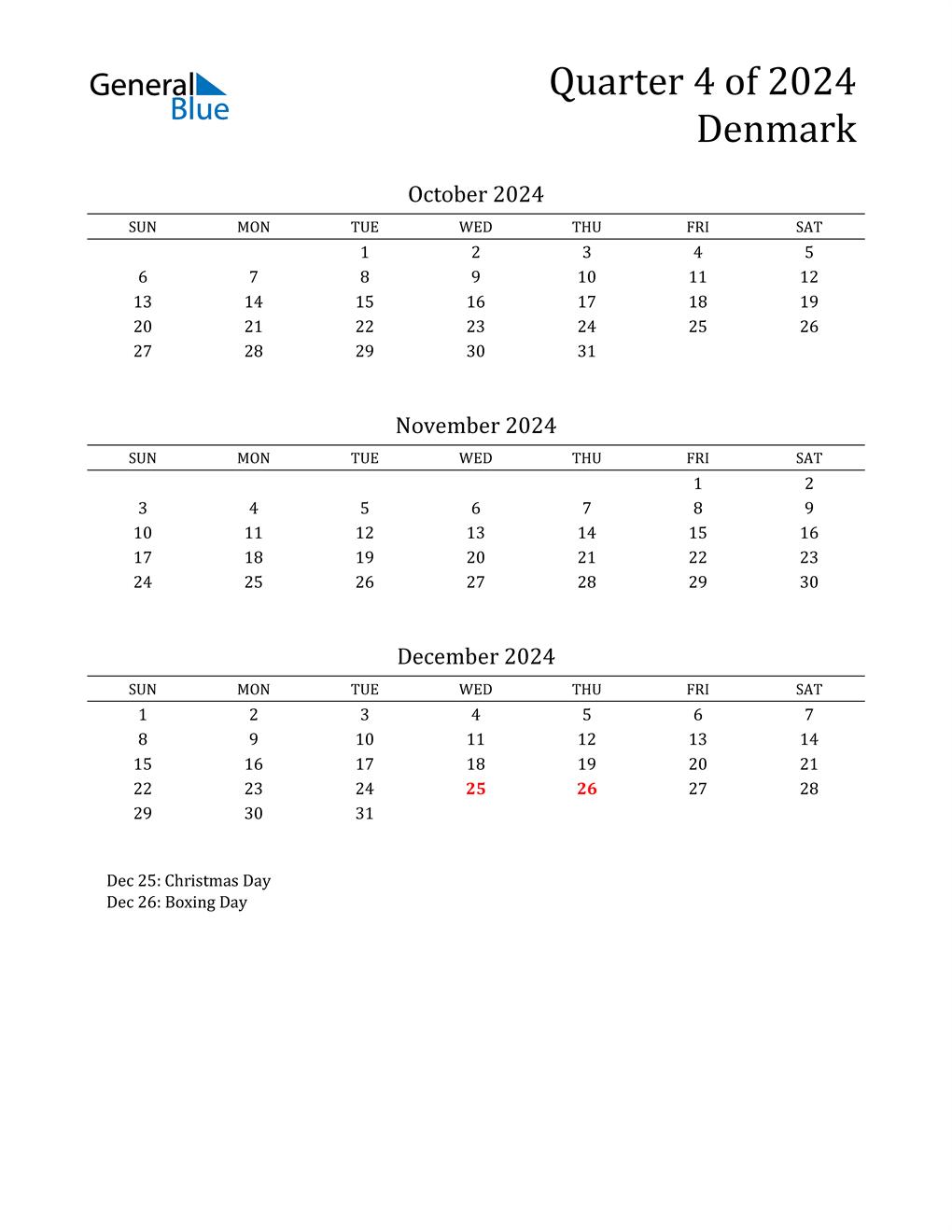 2024 Denmark Quarterly Calendar