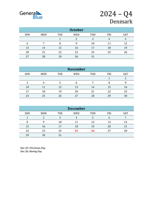 Three-Month Planner for Q4 2024 with Holidays