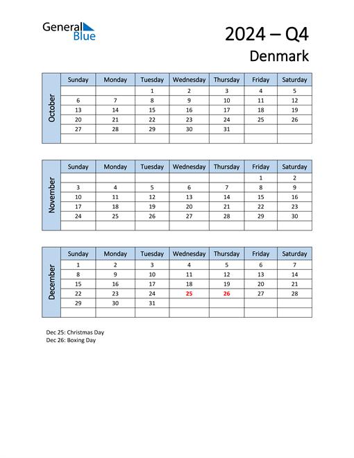 Free Q4 2024 Calendar for Denmark