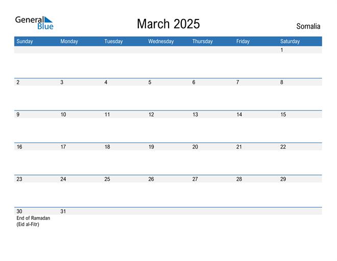 Fillable March 2025 Calendar
