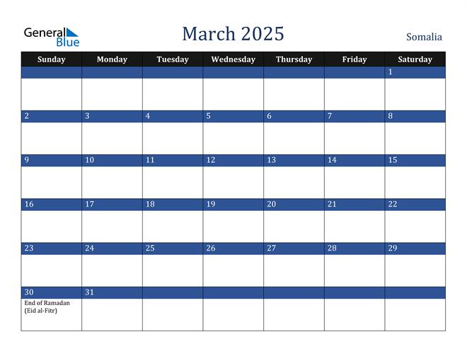 March 2025 Somalia Calendar