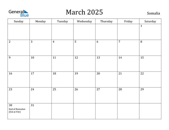 March 2025 Calendar Somalia