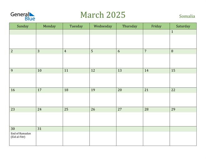 March 2025 Calendar with Somalia Holidays