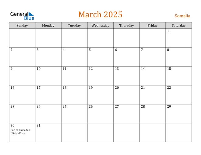 March 2025 Holiday Calendar