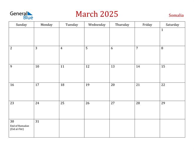 Somalia March 2025 Calendar