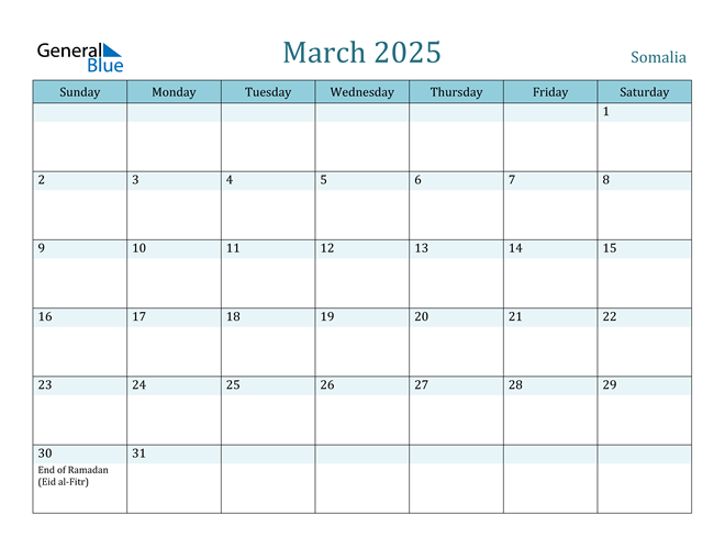 March 2025 Calendar with Holidays in PDF, Word, and Excel