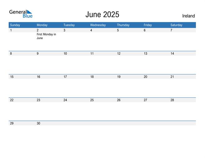 Fillable June 2025 Calendar