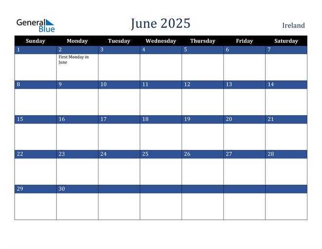 June 2025 Ireland Calendar