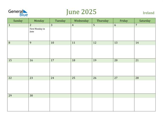 June 2025 Calendar with Ireland Holidays