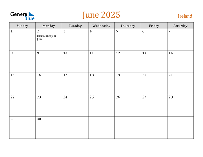 June 2025 Holiday Calendar