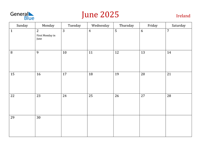 Ireland June 2025 Calendar