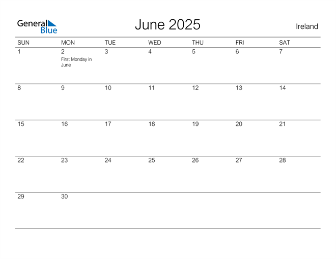 Printable June 2025 Calendar for Ireland