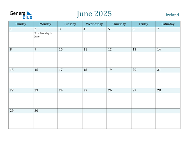 June 2025 Calendar with Holidays in PDF, Word, and Excel