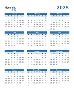 Image of 2025 2025 Calendar Blue with No Borders