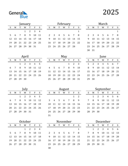 Image of 2025 2025 Printable Calendar Classic