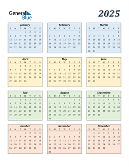 Image of 2025 2025 Calendar with Color