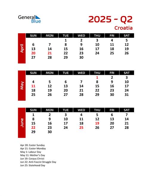 Q2 2025 Calendar with Holidays