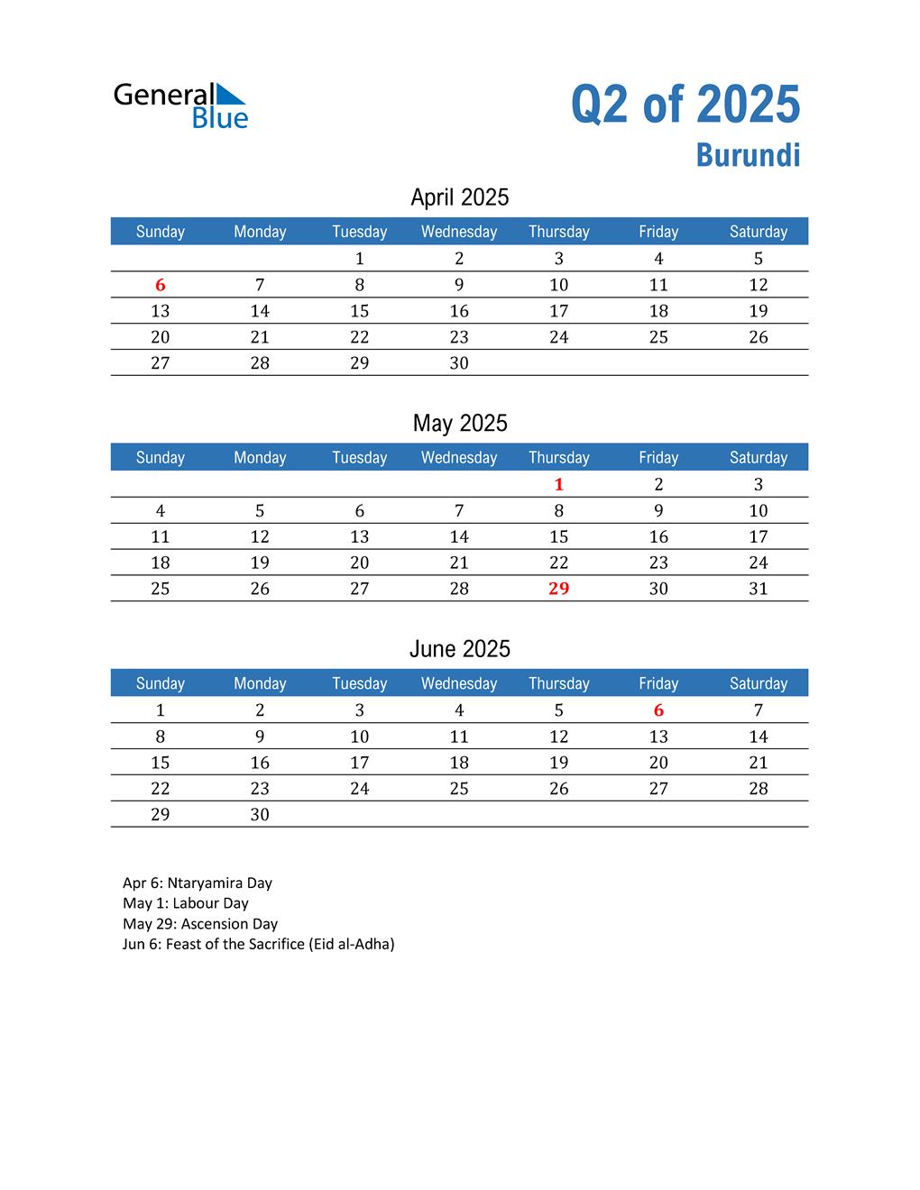 Burundi 2025 Quarterly Calendar