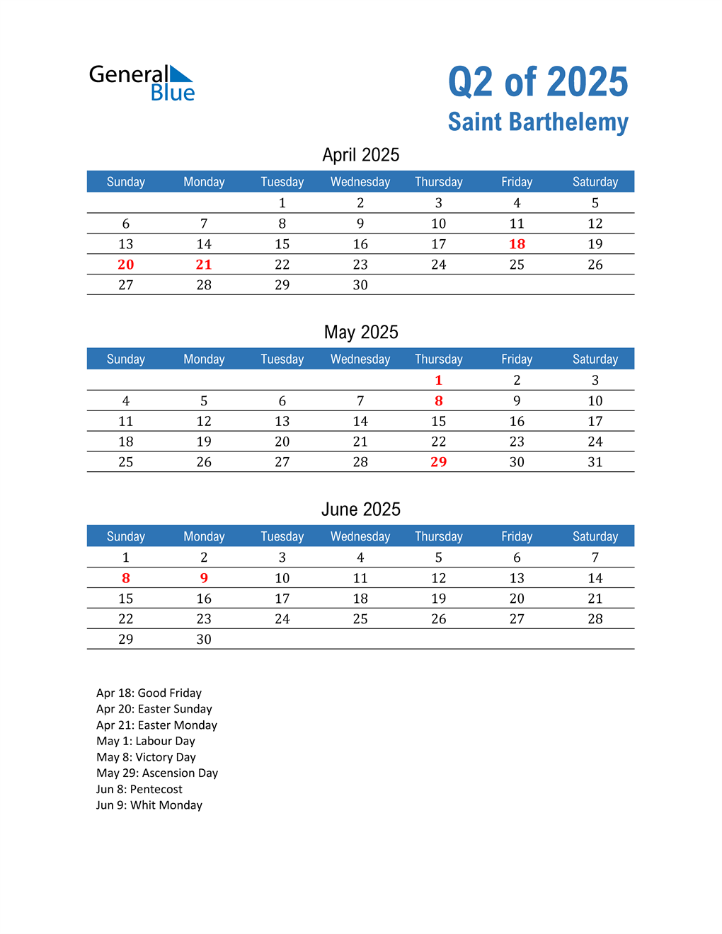 Saint Barthelemy 2025 Quarterly Calendar