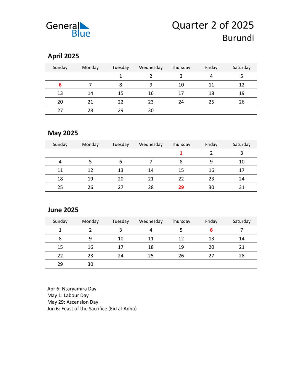 2025 Three-Month Calendar for Burundi