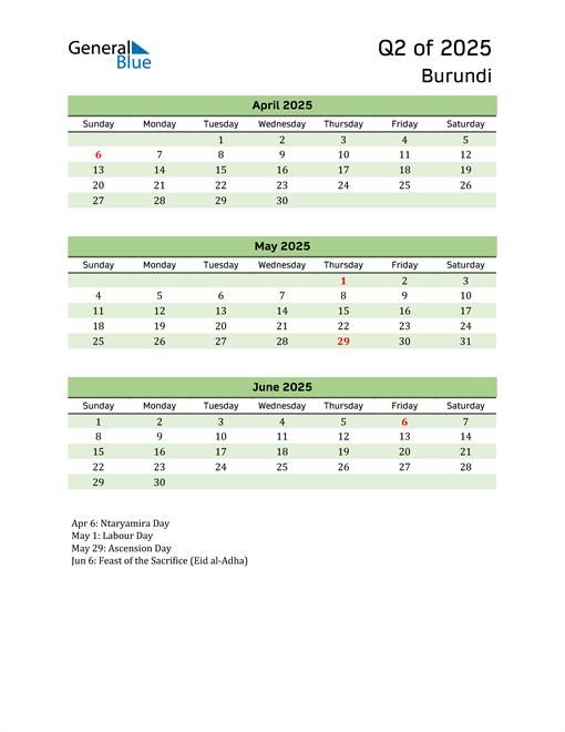 Quarterly Calendar 2025 with Burundi Holidays