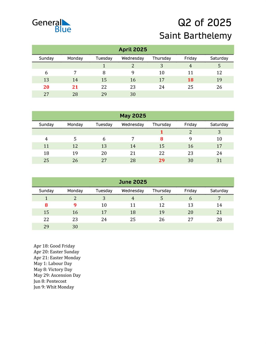 Quarterly Calendar 2025 with Saint Barthelemy Holidays