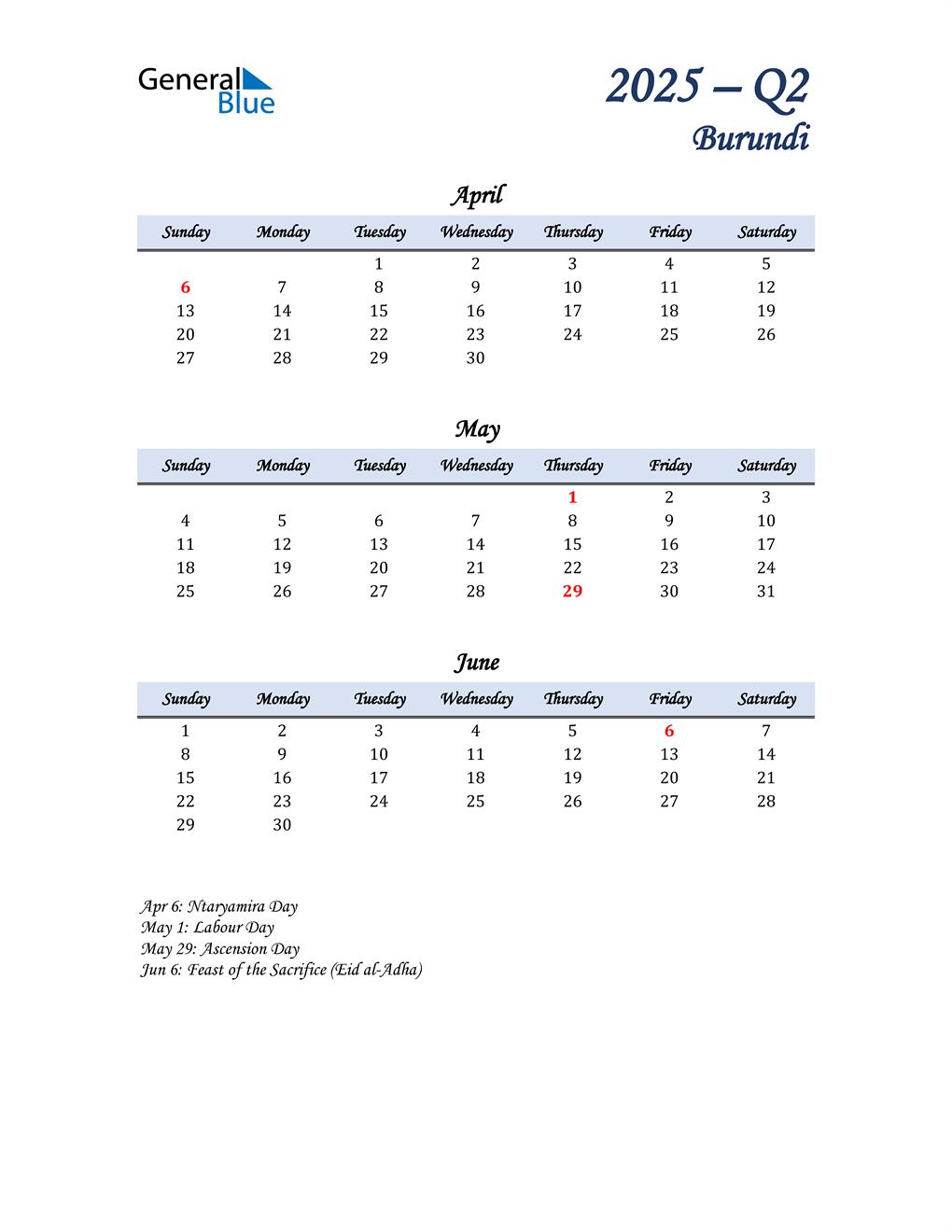April, May, and June Calendar for Burundi