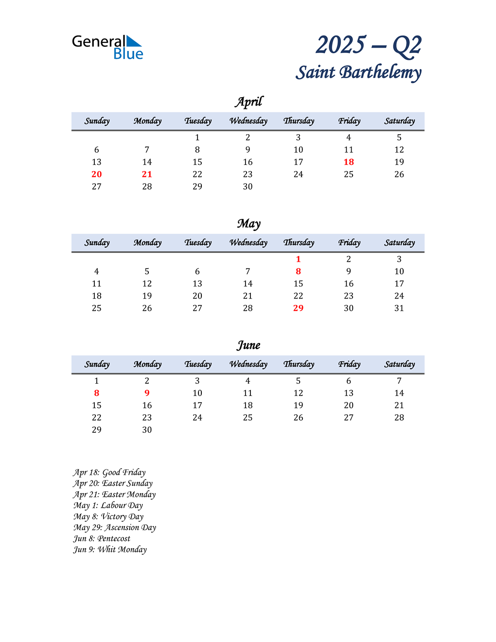 April, May, and June Calendar for Saint Barthelemy
