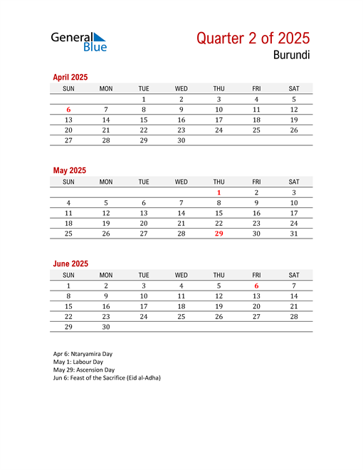 Printable Three Month Calendar for Burundi