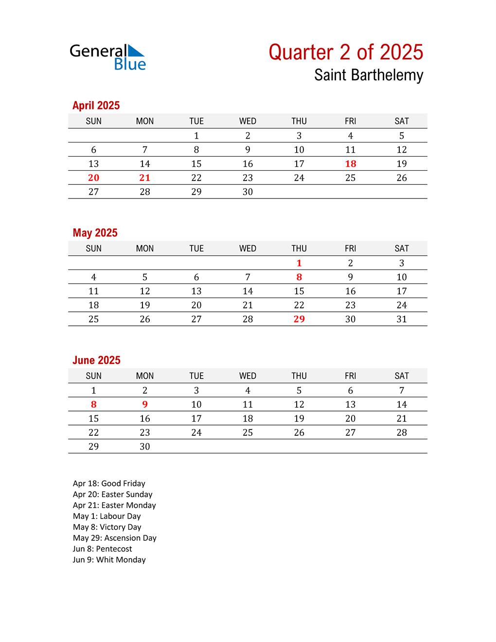 Printable Three Month Calendar for Saint Barthelemy