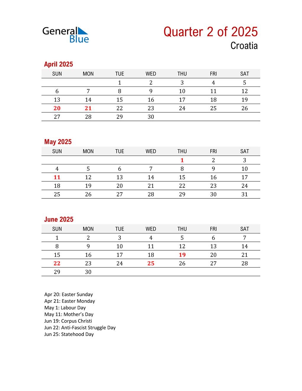 Printable Three Month Calendar for Croatia