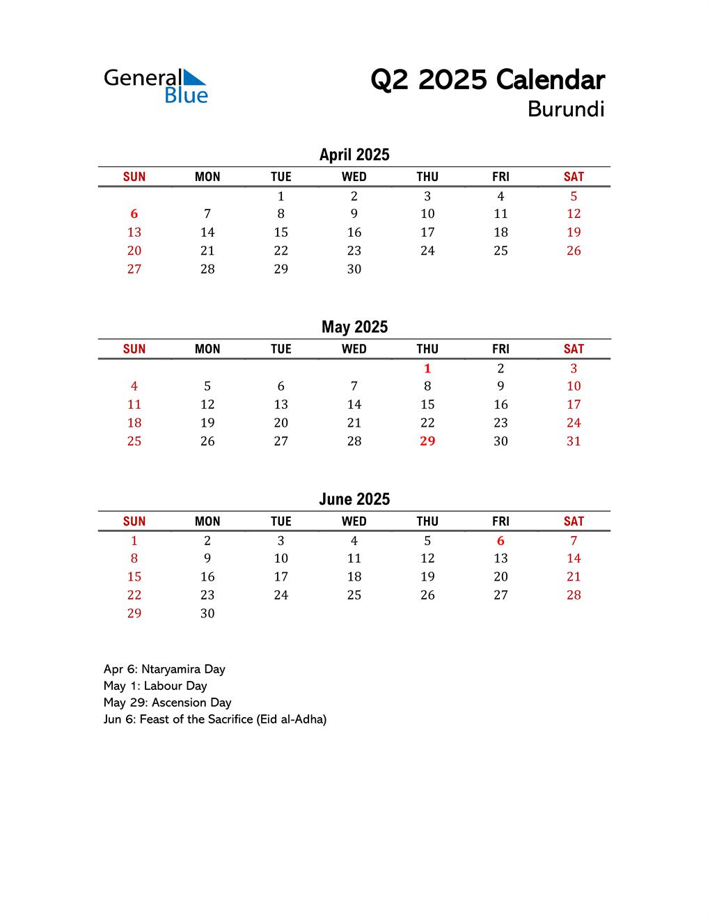 2025 Q2 Calendar with Holidays List