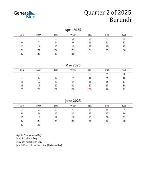 2025 Burundi Quarterly Calendar