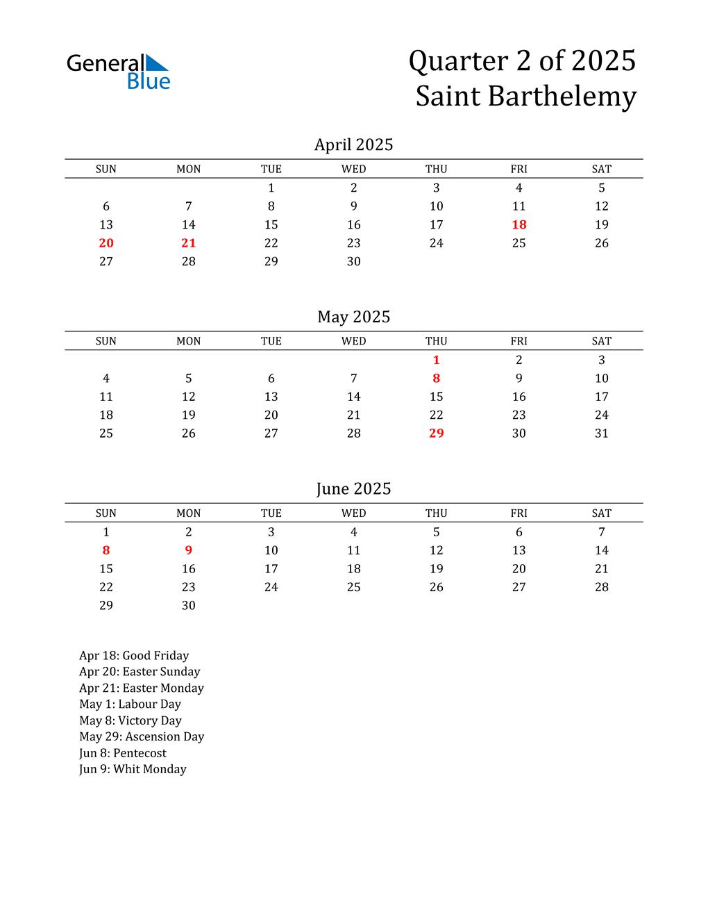 2025 Saint Barthelemy Quarterly Calendar