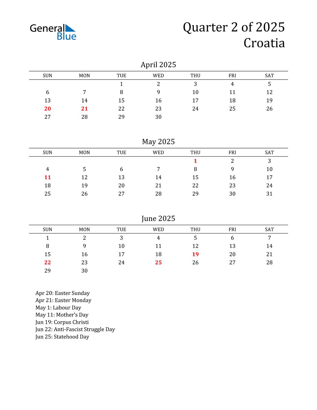 2025 Croatia Quarterly Calendar