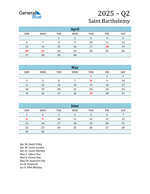 Three-Month Planner for Q2 2025 with Holidays