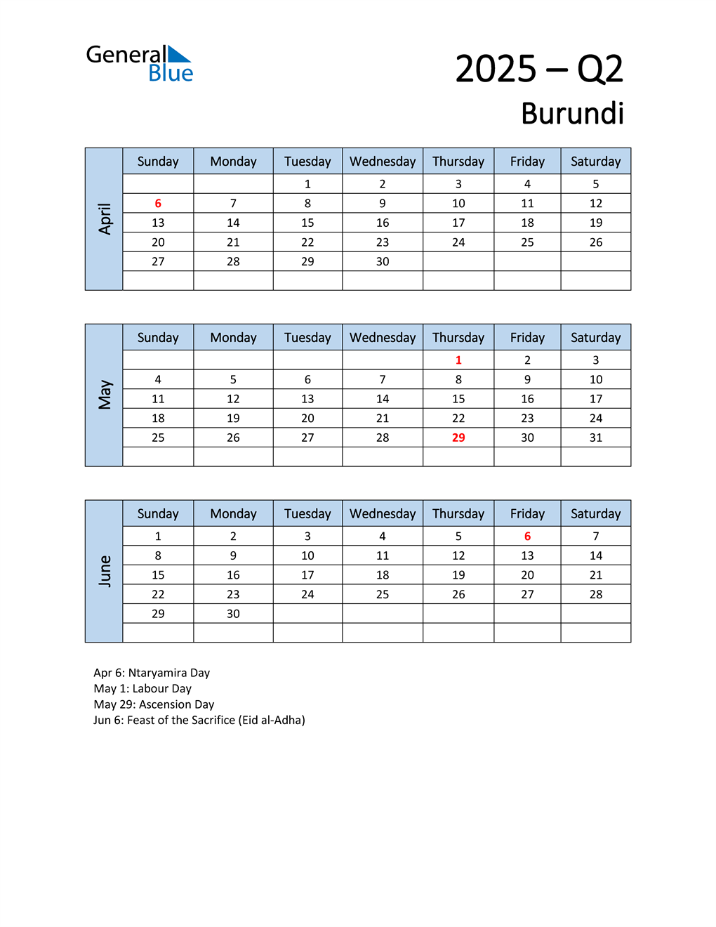 Free Q2 2025 Calendar for Burundi