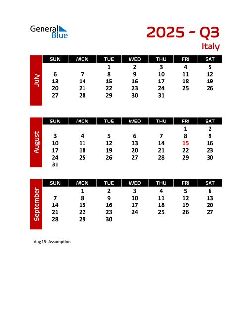 Q3 2025 Calendar with Holidays