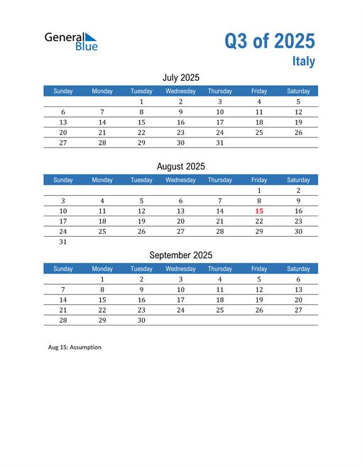 Italy 2025 Quarterly Calendar
