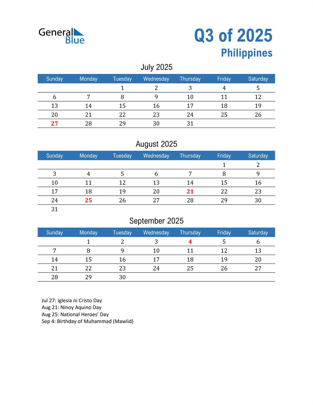 Philippines 2025 Quarterly Calendar