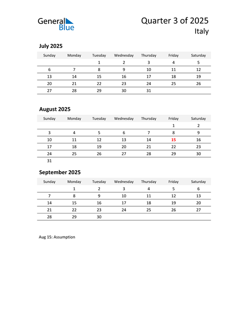 2025 Three-Month Calendar for Italy