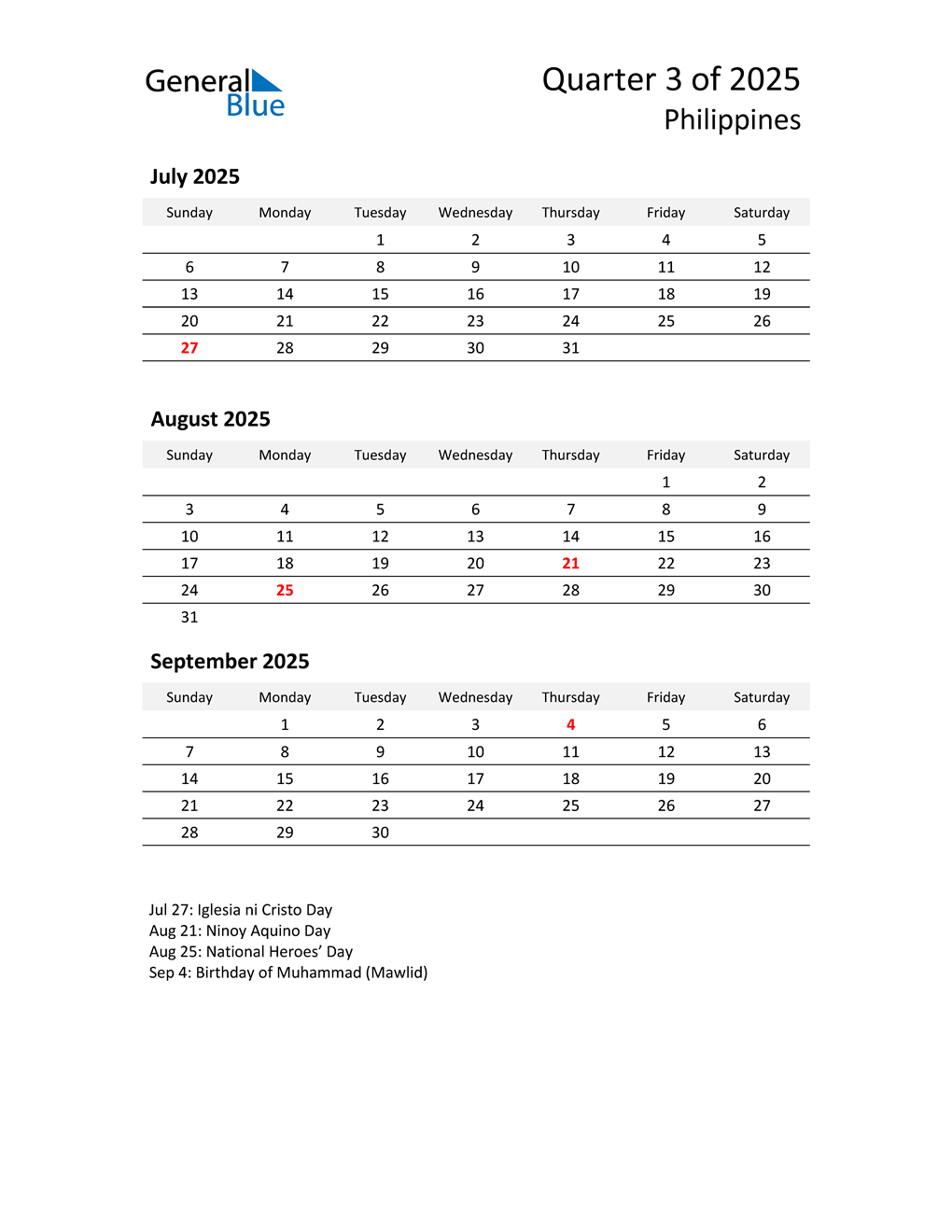 2025 Three-Month Calendar for Philippines