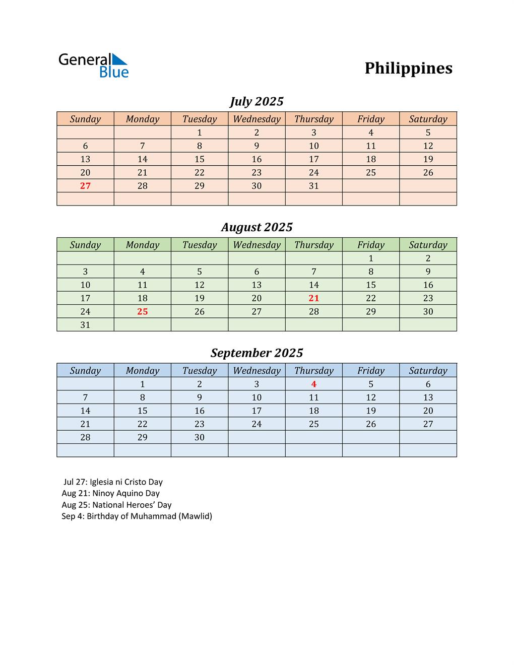 Q3 2025 Holiday Calendar - Philippines