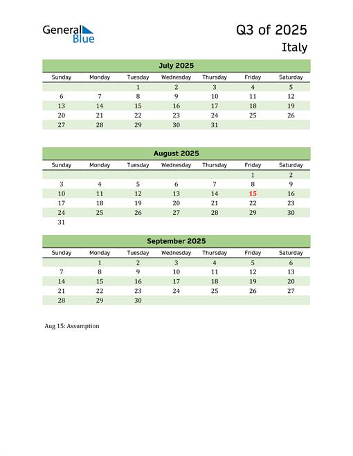 Quarterly Calendar 2025 with Italy Holidays